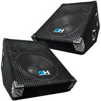 Pair of 12 Inch Passive Wedge Monitors - Floor or Stage 350 Watts RMS each - PA/DJ Stage, Studio, Live Sound Monitors