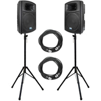 "Pair of Powered Outdoor 15"" PA DJ Molded Speakers with Speaker Stands & XLR Cables"