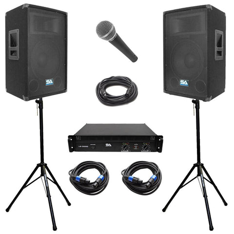 "Pair of 12"" PA Speakers, Amplifier, Stands, Speakon Cables, Microphone and Mic Cable"