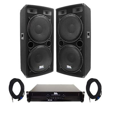 "Pair of Compact Dual 15"" PA Speakers, Power Amplifier, and 50 Foot Cables"