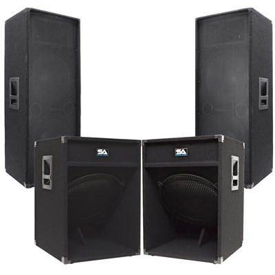 Live Sound Concert Mains PA Package - Pair of Dual 15 Inch PA Speakers and a Pair of 18 Inch Subwoofer Cabinets