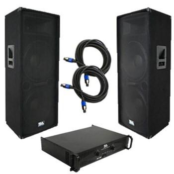 "Pair of Dual 15"" PA Speakers, Amplifier, and Cables"