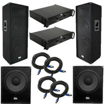 "Pair of Dual 15"" PA Speakers, 2 18"" Enforcer Subs, 2 Amplifiers, and Cables"