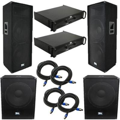 "Pair of Dual 15"" PA Speakers, 2 18"" Subs, 2 Amplifiers, and Cables"