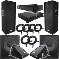 "Pair of Dual 15"" PA Speakers, 2 18"" Subs, 2 15"" Monitors, 2 Amplifiers, and Cables"