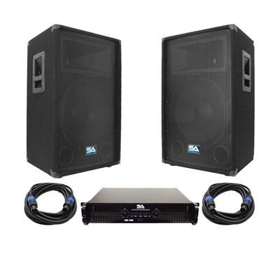 "Pair of 15"" PA Speakers, 2 Channel Power Amplifier and two 35' Speakon Cables"