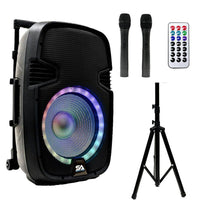 SA-KP10BAT - Powered 10 Inch DJ Karaoke Speaker with Stand - Rechargeable Battery, Bluetooth, LED Lights, 2 Wireless Microphones and Remote