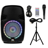 SA-KP12BTH - Active 12 Inch DJ Karaoke Party Speaker with Stand - Bluetooth, LED Lights, Microphone, Cable and Remote