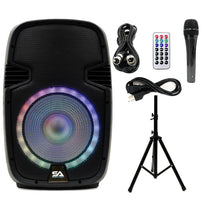 SA-KP15BTH - Active 15 Inch DJ Karaoke Party Speaker with Stand - Bluetooth, LED Lights, Microphone, Cable and Remote