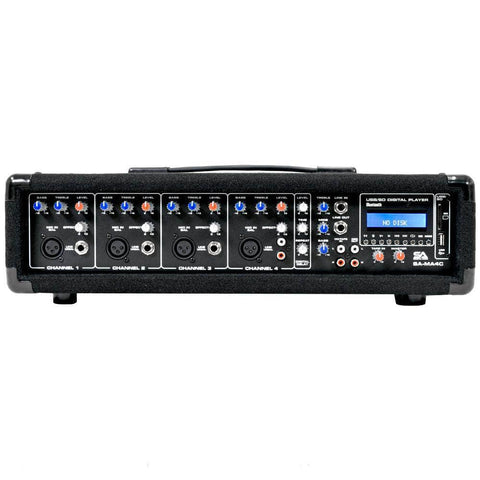SA-MA4C - 4 Channel 200 Watt Powered PA Head Mixer with Bluetooth and Effects