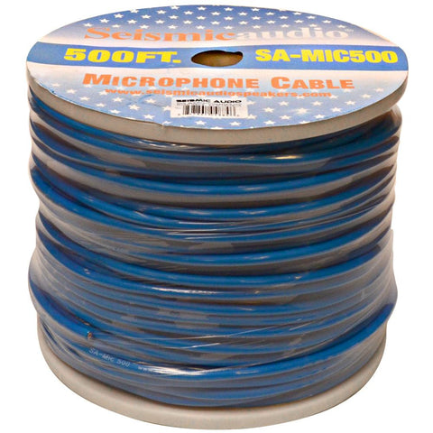 500 Feet of Blue Microphone Cable on a Spool