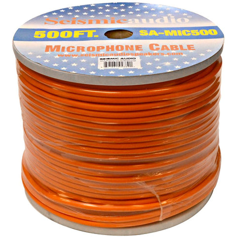 500 Feet of Orange Microphone Cable on a Spool
