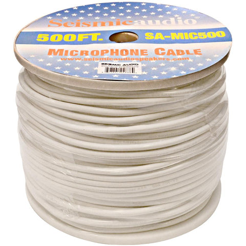 500 Feet of White Microphone Cable on a Spool