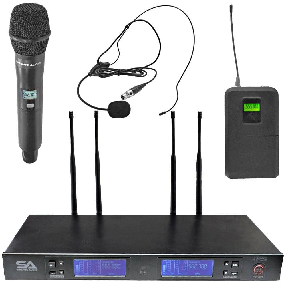 SA-U2HHLV2-2 - 2 Channel UHF Wireless Microphone System with 1 Handheld & 1  Headset Microphone