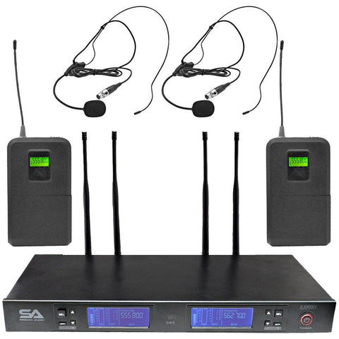 SA-U2LV3-2 - 2 Channel UHF Wireless Microphone System with 2 Headset Microphones