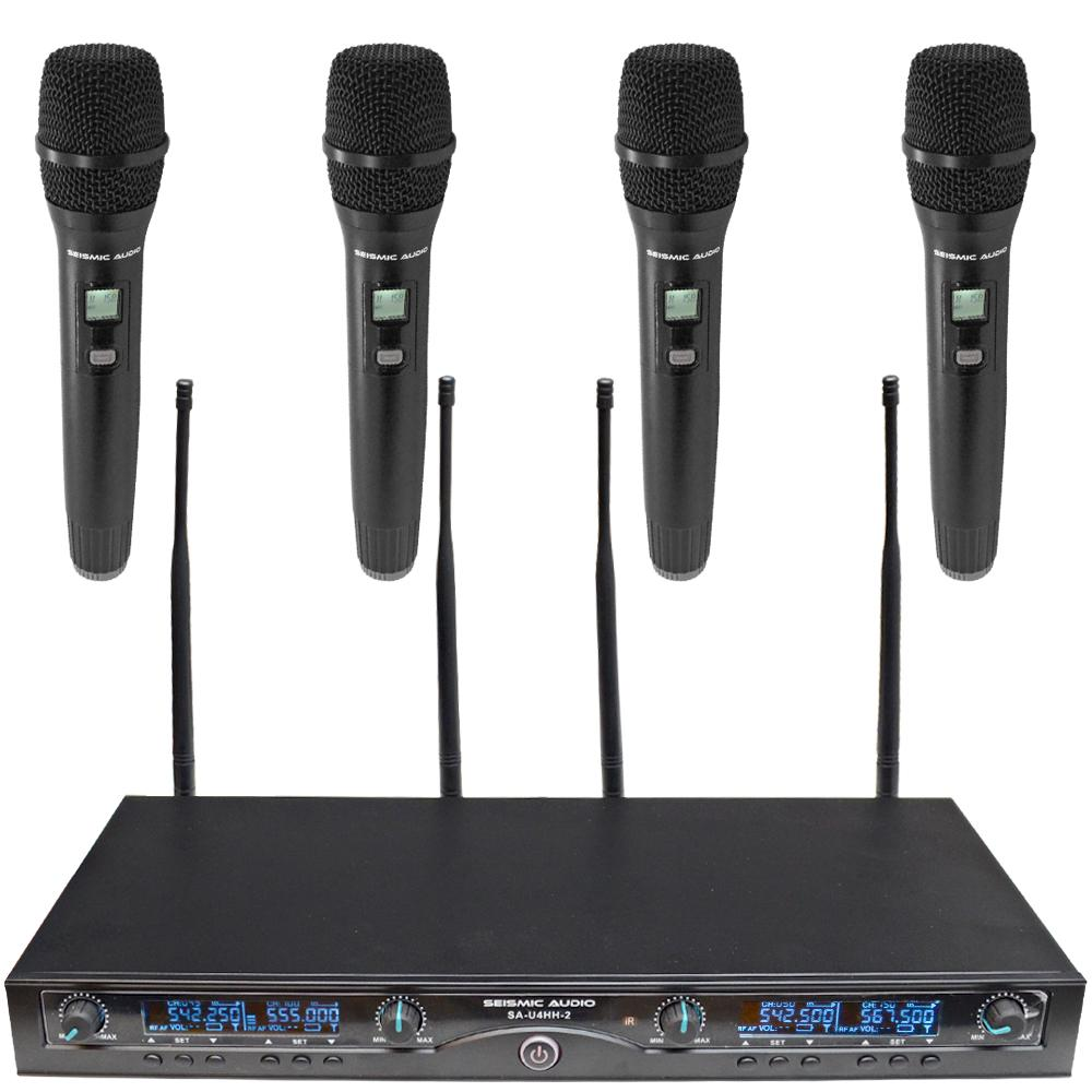 4 channel wireless uhf microphone system 4 handheld microphones seismic audio seismicaudio. Black Bedroom Furniture Sets. Home Design Ideas