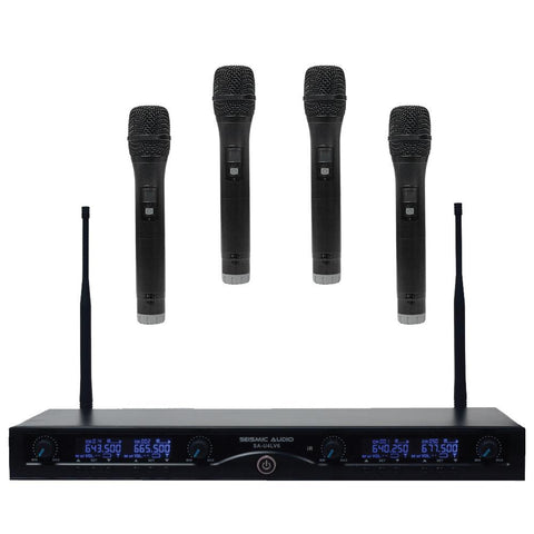 SA-U4HH4 - 4 Channel UHF Wireless Microphone System with 4 Handheld Wireless Microphones