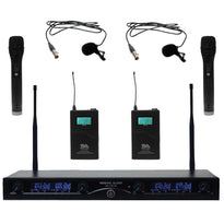 SA-U4HHLV5 - 4 Channel UHF Wireless Microphone System with 2 Handheld & 2 Lavalier Microphones
