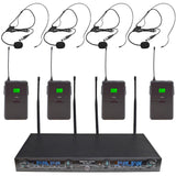 SA-U4LV6-2 - 4 Channel UHF Wireless Microphone System with 4 Headset Microphones