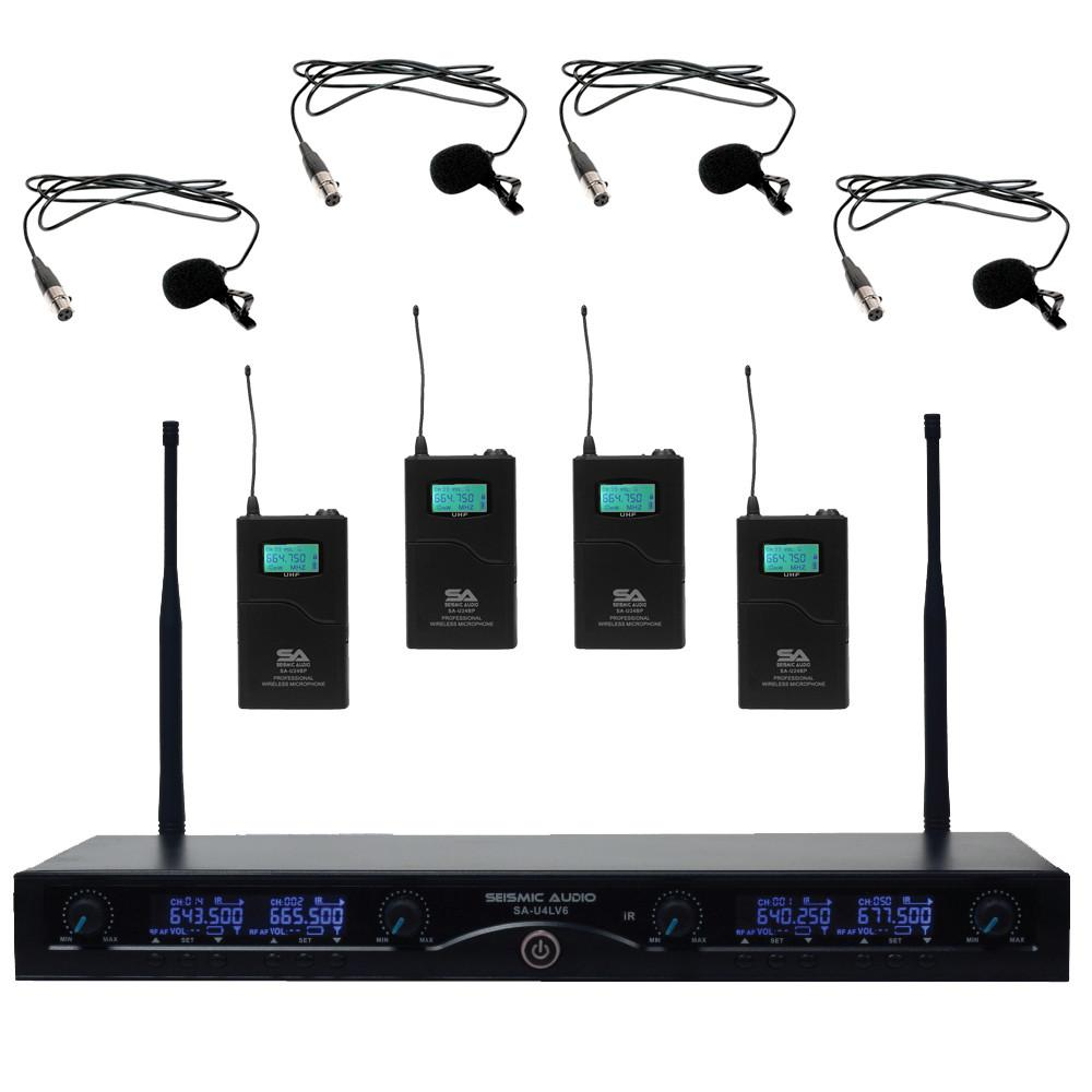4 Channel Wireless Uhf Microphone System 4 Lavalier