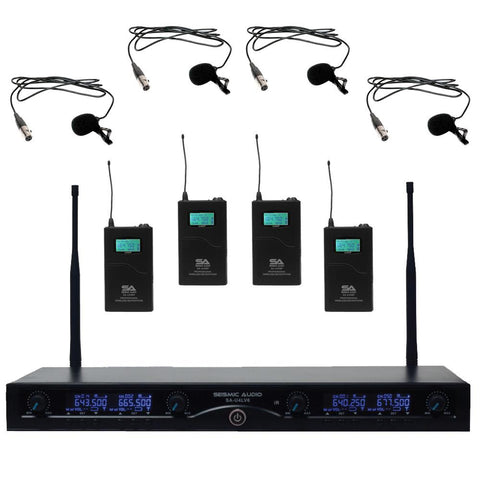 SA-U4LV6 - 4 Channel UHF Wireless Microphone System with 4 Lavalier Microphones