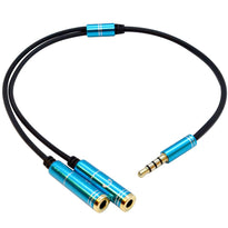 SA-Y32- 1 Foot 3.5mm Male TRRS to Dual 3.5mm Female Y Splitter Cable - Headset Adapter for Gaming, Phones, Tablet