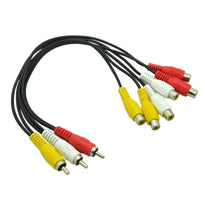 SA-Y35 - 1 Foot 3 RCA Male to 6 RCA Female Jack AV Splitter Adapter Cable