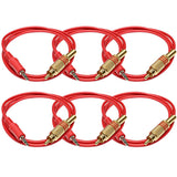 SAPT44 - 3 Foot Red 3.5mm Mono Male to RCA Male Jack Audio Patch Cables - 6 Pack