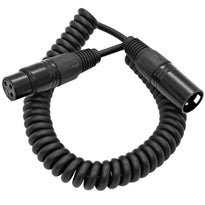 SACX-1 - 1.5 Foot Coiled Black XLR Microphone Cable - Extends to 7.5 Feet