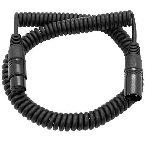 SACX-3 - 3 Foot Black Coiled XLR Microphone Cable - Extends to 15 Feet