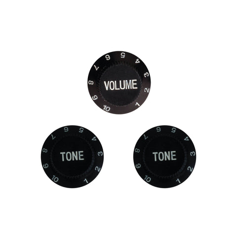 Black Plastic Traditional Replacement Volume and Tone Knob Set