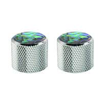 Chrome and Pearloid Knurled Metal Replacement Knob for Electric Guitar - 2 Pack