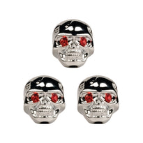 Set of 3 Adjustable Fit Chrome Skull Electric Guitar Knobs with Red Eyes and included Allen Wrench