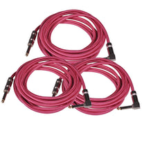 SAGCRPK-12 - 3 Pack of 12' Pink Woven Cloth Guitar/Instrument Cables