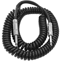 SAGCURL20 - 20 Foot Coiled Guitar or Instrument Cable - 1/4 Inch TS Straight Connectors