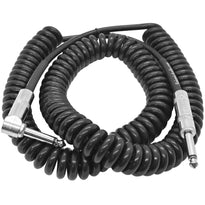SAGCURLRT20 - 20 Foot Coiled Guitar or Instrument Cable - Right Angle 1/4 Inch TS to Straight Connectors