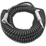 SAGCURLRT30 - 30 Foot Coiled Guitar or Instrument Cable - Right Angle 1/4 Inch TS to Straight Connectors
