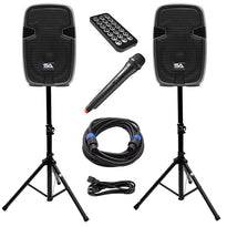 PAIO12 - Active 12 Inch PA Speaker System - Bluetooth, Wireless Mic, Speaker Stands and Cables