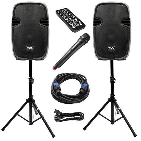 PAIO15 - Active 15 Inch PA Speaker System - Bluetooth, Wireless Mic, Speaker Stands and Cables