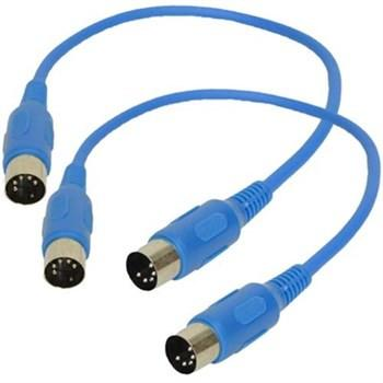 SAMIDIBlue1-2Pk - Blue MIDI Cable - 1 Foot (2 Pack)