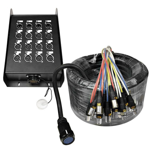 SAMP-12x4x100 - 12 Channel, 100 Foot XLR Snake Cable with Easy Disconnect Trunk