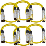 SAPGX-2 - 6 Pack of Premium 2 Foot Yellow XLR Patch Cables