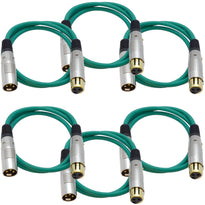 SAPGX-3 - 6 Pack of Premium 3 Foot Green XLR Patch Cables