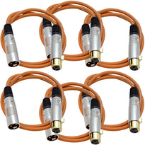 SAPGX-3 - 6 Pack of Premium 3 Foot Orange XLR Patch Cables
