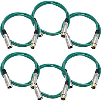 SAPGX-6 - 6 Pack of Premium 6 Foot Green XLR Patch Cables