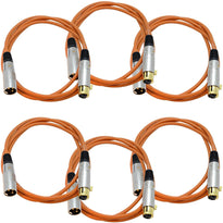 SAPGX-6 - 6 Pack of Premium 6 Foot Orange XLR Patch Cables