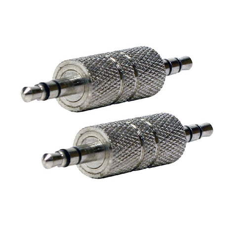 "SAPT315 - 2 Pack of 1/8"" (3.5mm) Male to Male Stereo Adapters - Audio Gender Changers"
