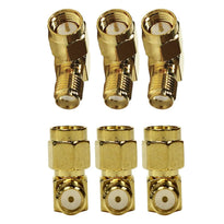 SAPT316 - 6 Pack of Gold Coax SMA Male to Rght Angle Female Cable Adapters