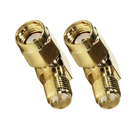 SAPT318 - Pair of Gold Coax SMA Female to Right Angle Male Cable Adapters