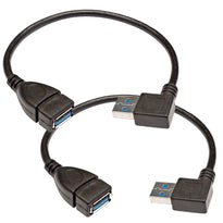 SAPT505- Pair of 10 Inch USB 3.0 Extension Cables - Type A Right Angle Male to Straight Female